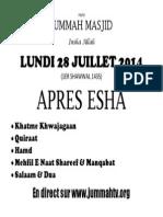 PROGRAMME LUNDI 28 JUILLET 2014