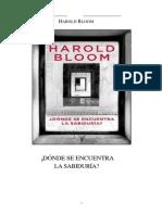 ¿Dónde Se Encuentra La Sabiduría_ -Harold Bloom