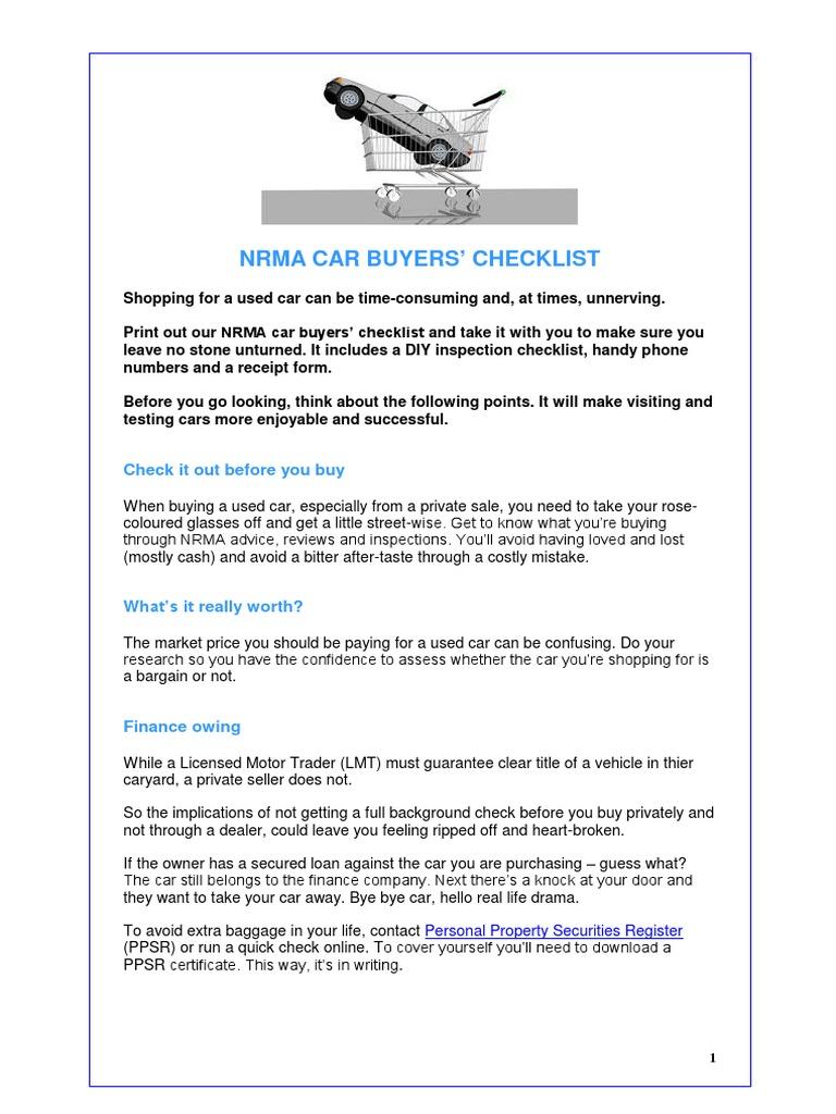 Car Buyers Checklist Used Car Car