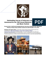 Outstanding Line-up of Performers and Schedule Announced for the 16th Annual Monterey Cowboy Poetry and Music Festival