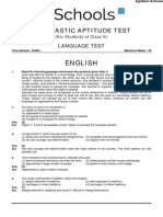NTSE Sample Papers for Class 10 - Stage II - English