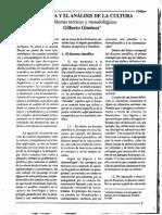 32930212 La Teoria y El Analisis de La Cultura Problemas Teoricos y Metodologicos Gilberto Gimenez