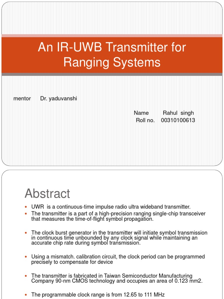 An Ir Uwb Transmitter For Ranging Systems Ultra Wideband Impulse Modulated Infrared Circuit