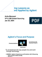 Outsourcing Lessons as Learned and Applied by Agilent