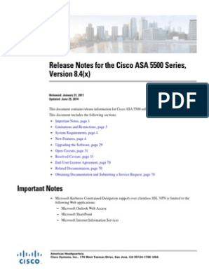Release Notes for the Cisco ASA 5500 Series, Version 8 4(x)