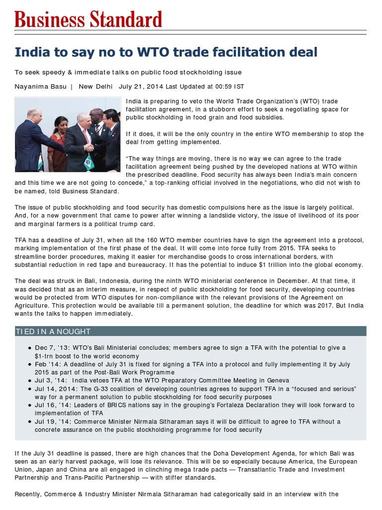 India At Bali World Trade Organization International Politics
