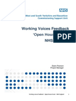 Open House Event June 14 - Report on the Feedback From 'Working Voices' Workshop