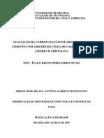 Carbonatação Em Argamassas Com Adição de Cinza de Casca de Arroz