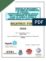 CADEIA PRODUTIVA DA RECICLAGEM E ORGANIZAÇÃO DE REDES DE COOPERATIVAS DE CATADORES
