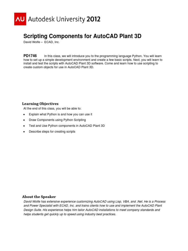 Scripting Components for AutoCAD Plant 3D | Scripting Language