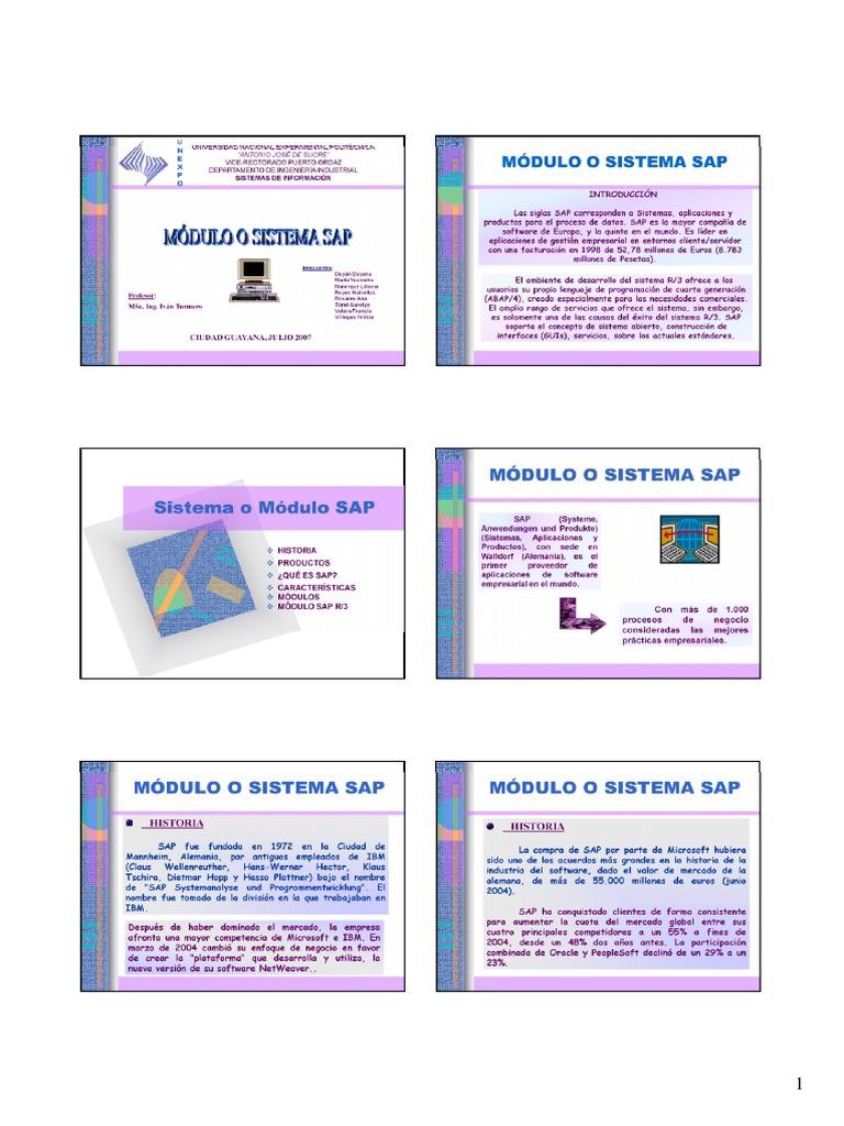 Modulo O Sistema Sap Presentacion Powerpoint Ppt Modo De