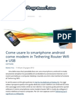 Come Usare Smartphone Android Come Modem Tethering Wifi USB Guida Telefono Cellulare
