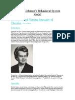 Dorothy Johnson's Behavioral System Model Wiki