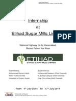 Internship Report, Etihad Sugar Mills Limted, RYK