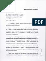 Carta de Dante Delgado al doctor José Manuel Mireles