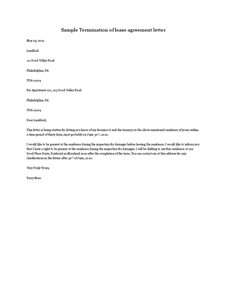 Letter To End Lease from imgv2-1-f.scribdassets.com