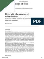 Diversité Alimentaire Et Urbanisation