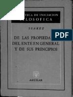 Suárez -De Las Propiedades Del Ente en General y de Sus Principios