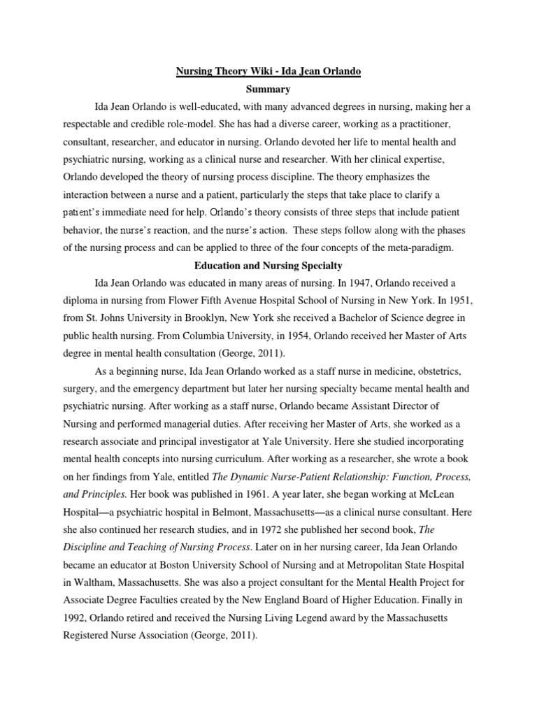 Nursing Theory Wiki Psychological Evaluation Nursing