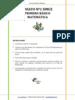 Ensayo1 Simce Matematica 1basico 2009