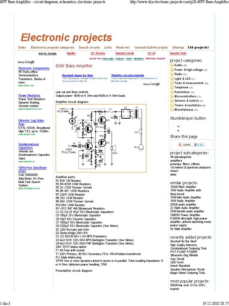 60w Subwofer Amplifier Capacitor Circuit Diagram Ups 500w