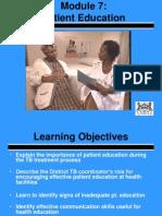 7.0 Patient Education