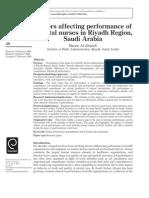 Factors Affecting Performance of Hospital Nurses in Riyadh Region, Saudi Arabia