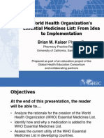 106 WHO Essential Medicines List From Idea to Implementation FINAL