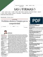 28-07-14 ProMéxico destaca a Tampico por su competitividad