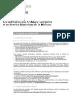 Les militaires aux Archives nationales et au Service historique de la Défense
