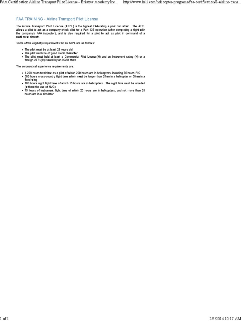 Faa Certification Airline Transport Pilot License