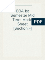 BBA 1st Semester Mid Term Marks Sheet [Section:F]
