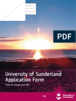 University of Sunderland Application Form