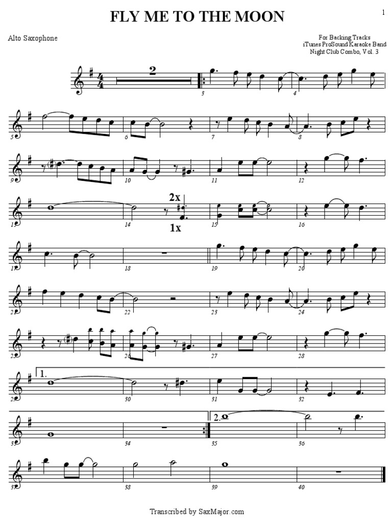 fly me to the moon alto sax sheet music free