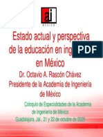 Estado Actual y Perspectiva de La Educacion en Ingenieria en Mexico