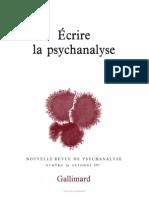 Ecrire La Psychanalyse