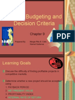 Capital Budgeting and Decision Criteria