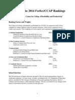 2014 Forbes College Rankings Methodology