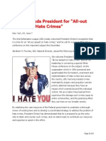 ADL Applauds President Clinton