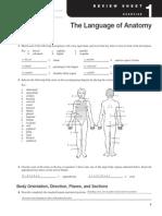 Exercise 1 Language of Anatomy