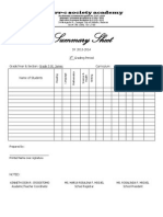 Summary Sheets