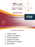 UNIDAD II SEMANA 4 Lengua y Habla Comunicacion I