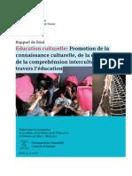 Education Culturelle_ Promotion de La Connaissance Culturelle, De La Créativité Et de La Comprehénsion Interculturelle à Travers l'Éducation