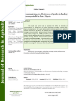 Effect of Elements of Communication on Effectiveness of Poultry Technology Messages in Delta State, Nigeria