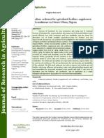 Assessment of Aquaculture Sediment for Agricultural Fertilizer Supplement and Soil Conditioner in Owerri Urban, Nigeria