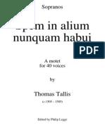 Tallis Spem in Alium Sopranos PML