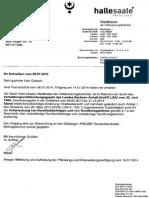 Aufhebung Der Fändungs- Und Überweisungsverfügung Der Stadt Halle(Saale) v. 29.07.2014