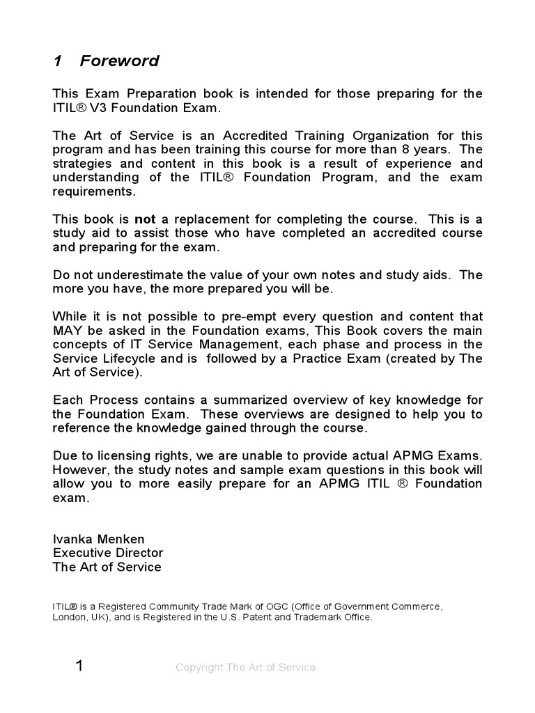 Itil V3 Foundations Exam Prep Book Itil Information Security