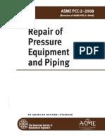 ASME PCC-2 - 2008 Repair of Pressure Equipment and Piping
