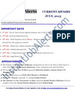 Current Affairs of July 2013